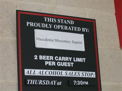 Beer stand run by a missionary baptist church